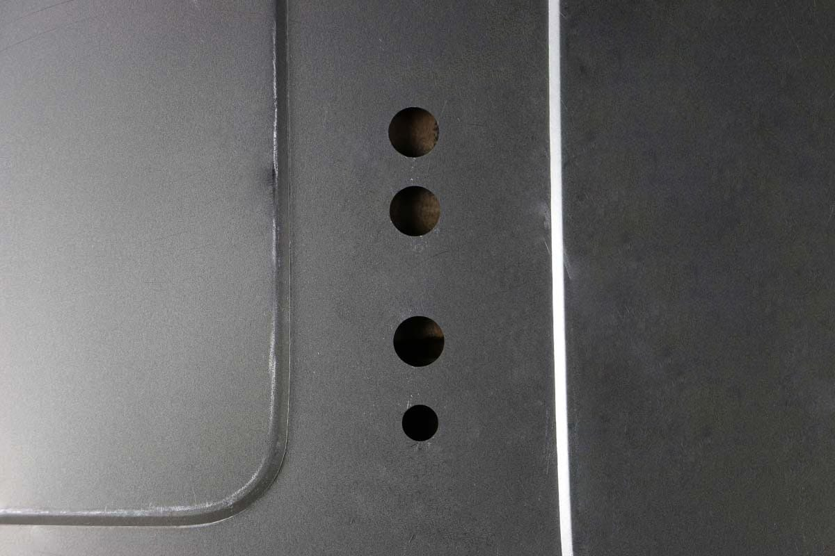 73 87 CHEVY TRUCK FILLER PANEL HOLES 1