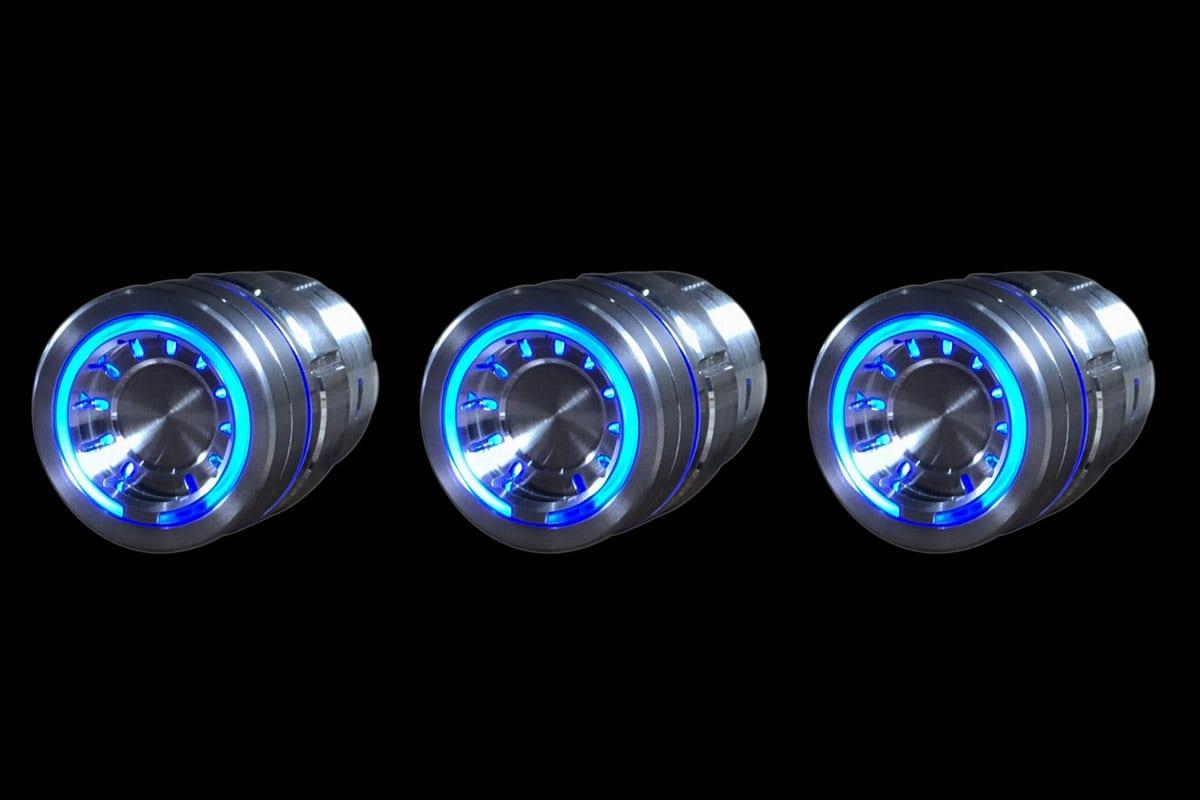 PODS BLUE LIGHT SATIN BLACK BACKGROUND LEFT