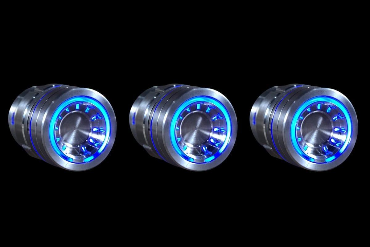 PODS BLUE LIGHT SATIN BLACK BACKGROUND RIGHT