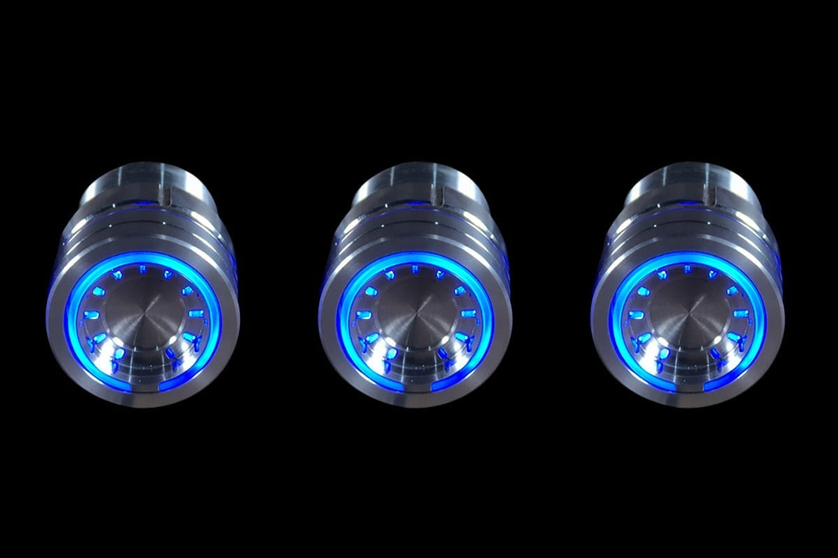 PODS BLUE LIGHT SATIN BLACK BACKGROUND STRAIGHT