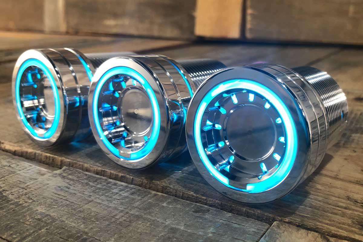 PODS CYAN LED POLISHED RIGHT