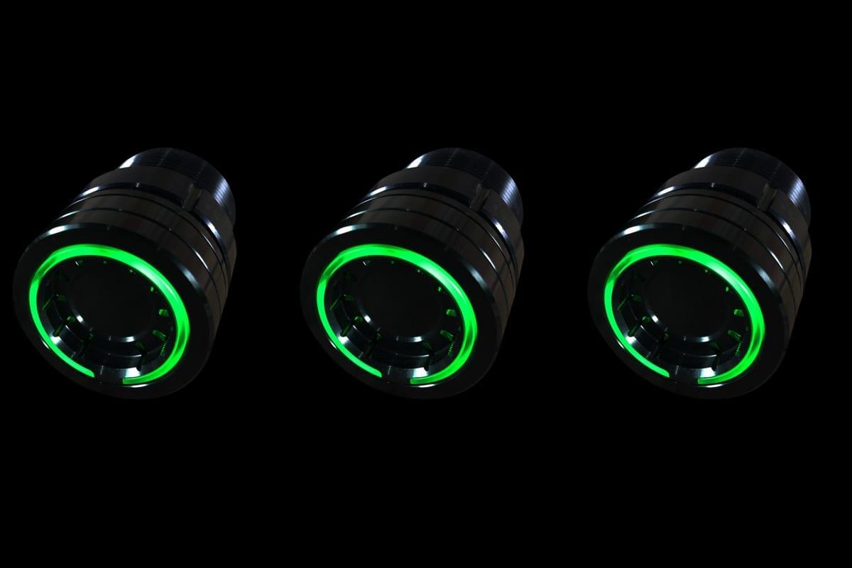 PODS GREEN LIGHT SYNISTER BLACK BLACK BACKGROUND LEFT DOWN