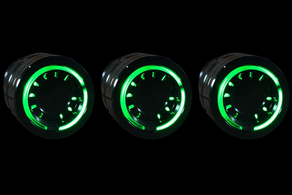 PODS GREEN LIGHT SYNISTER BLACK BLACK BACKGROUND RIGHT
