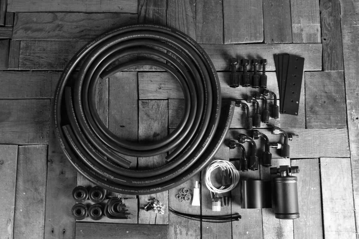 restomod universal hose kit with drier bw