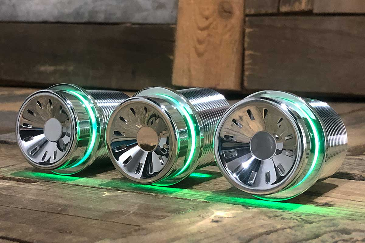 QUANTUM POD GREEN LED POLISHED LEFT