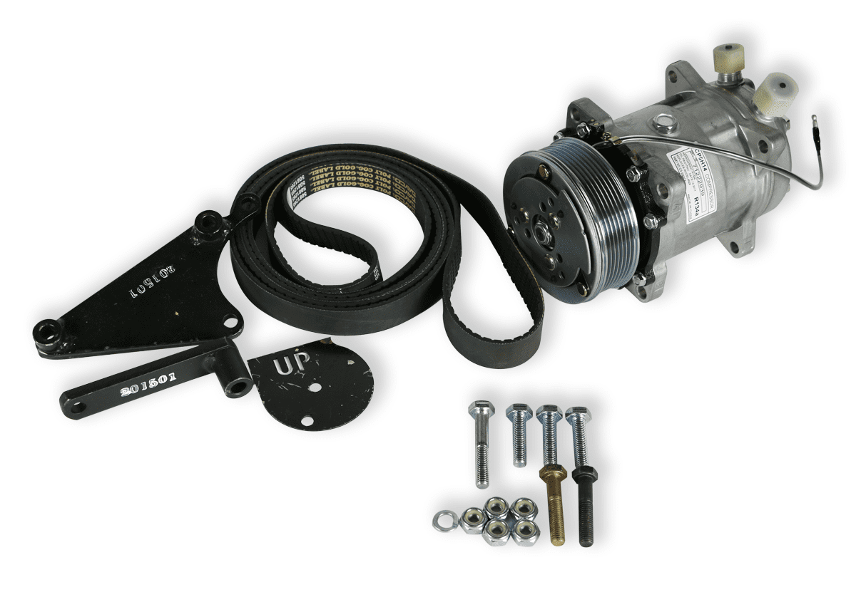 HUMVEE COMPRESSOR AND BELT WHITE BACKGROUND